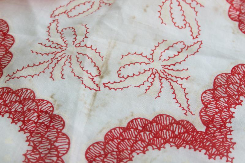 vintage print cotton hankies, Valentine's day red hearts retro holiday decorations