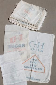 vintage print cotton salt & sugar bags, small flour sack fabric bags w/ old printed ad labels