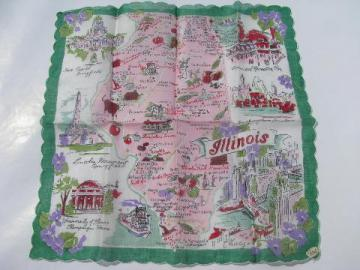 vintage print cotton souvenir hanky, Illinois state map handkerchief
