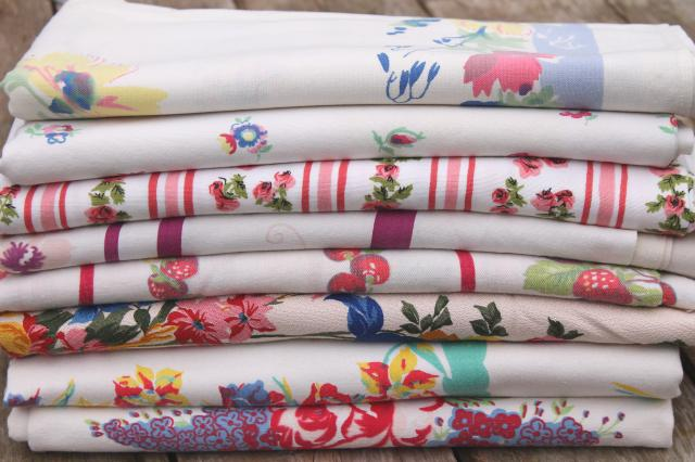 Vintage print cotton tablecloths retro 40s 50s kitchen tablecloth lot workwithnaturefo