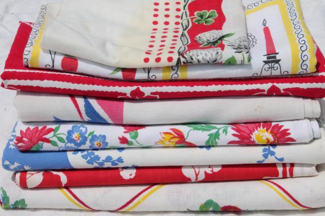 Vintage Print Cotton Tablecloths Retro