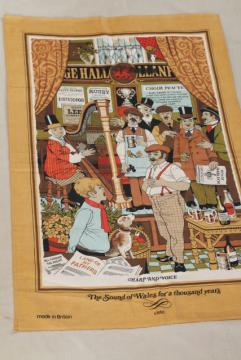vintage print cotton tea towel, Welsh songs and ballads lyrics, souvenir of Wales