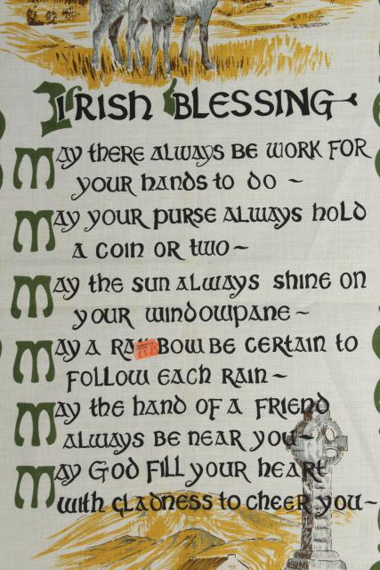 vintage print linen tea towel w/ Irish blessing, souvenir of Ireland