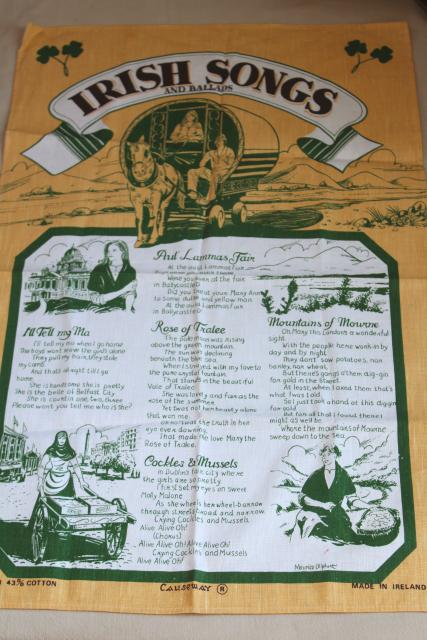 vintage print linen tea towel, Irish songs and ballads lyrics, souvenir of Ireland