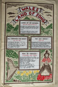 vintage print linen tea towel, Welsh songs and ballads lyrics, souvenir of Wales