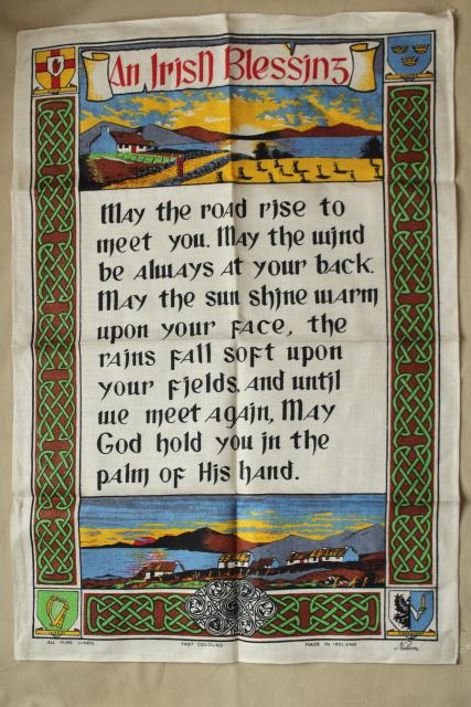 vintage print linen tea towel, good luck Irish blessing, souvenir of Ireland