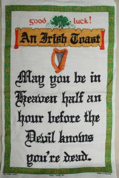 vintage print linen tea towel, good luck Irish toast, souvenir of Ireland