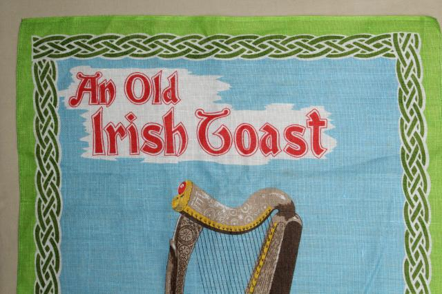 vintage print linen tea towel, old Irish toast May You Be in Heaven