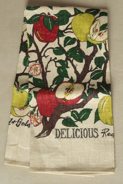 vintage print linen tea towel, red and golden yellow delicious apples fruit