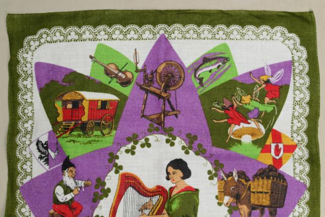 vintage print linen tea towel, souvenir of Ireland, old country emblems