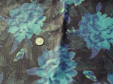 vintage print moire fabric, 60s mad men era large floral on black