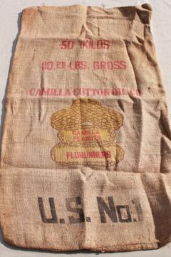 vintage printed burlap Georgia peanuts bag, sack from Camilla Cotton Oil Company w/ peanut graphics