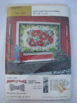 vintage printed cotton canvas for punch needle hooked rug, poppies floral