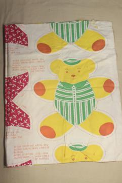 vintage printed cotton fabric feed sack, toy bear to cut & sew, rare novelty print