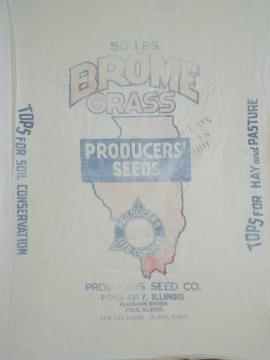 vintage printed cotton farm pasture seed sack, state of Illinois graphics