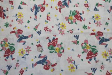 vintage printed cotton feed sack fabric, bright folk art dancing boy & girl