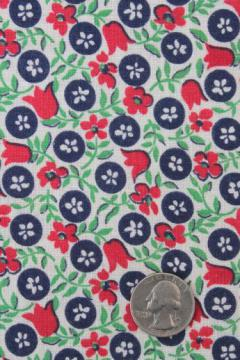 vintage printed cotton feed sack fabric w/ red, blue, jade green flowered print