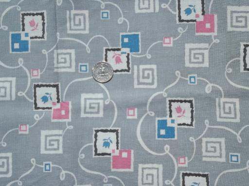 vintage printed cotton feed sack fabric, retro pink & grey print feedsack