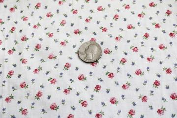 vintage printed cotton feed sack fabric, tiny flowers pink sprig floral