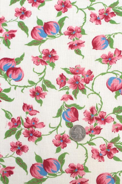vintage printed cotton feed sack kitchen towels, unused print fabric, pink flowers!