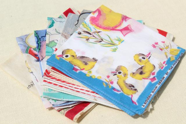 vintage printed cotton hankies, childrens novelty print handkerchiefs inc Golden Book hanky