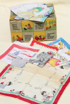 vintage printed cotton hankies, childrens novelty print handkerchiefs inc Golden Book hanky