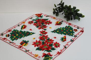 vintage printed cotton hanky, Christmas tree print holiday theme ladies handkerchief