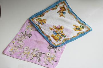 vintage printed cotton holiday hankies, childrens handkerchiefs w/ Easter bunnies & lamb