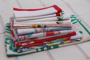 vintage printed cotton kitchen linens, napkins & dish towels w/ bright colors & prints