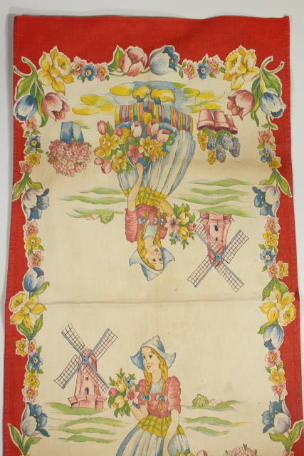 vintage printed cotton kitchen towel, tea or dishtowel w/ tulips Dutch girl print