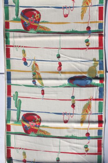 vintage printed cotton towel fabric w/ Mexican cactus print, unused 1940 kitchen linens yardage