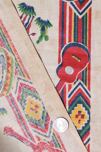 vintage printed cotton towel fabric w/ Old Mexico print, unused 1940 kitchen linens yardage
