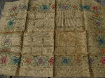 vintage printed hessian burlap canvas for hooked wool rag rug, flowers