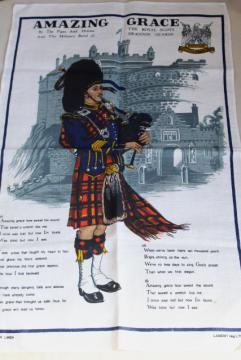 vintage printed linen tea towel, Amazing Grace lyrics bagpiper print, souvenir of Scotland