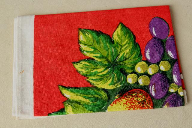 vintage printed linen tea towel, bright colorful fruit on red