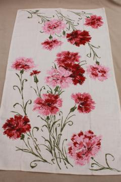 vintage printed linen tea towel w/ cottage flowers, red & pinks carnations