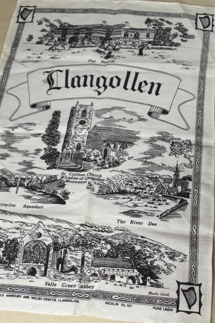 vintage printed linen tea towel souvenir of Llangollen Wales historic sites