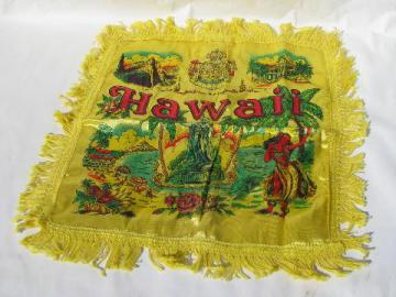 vintage printed rayon pillow cover w/ fringe, souvenir of Hawaii, hula girls print