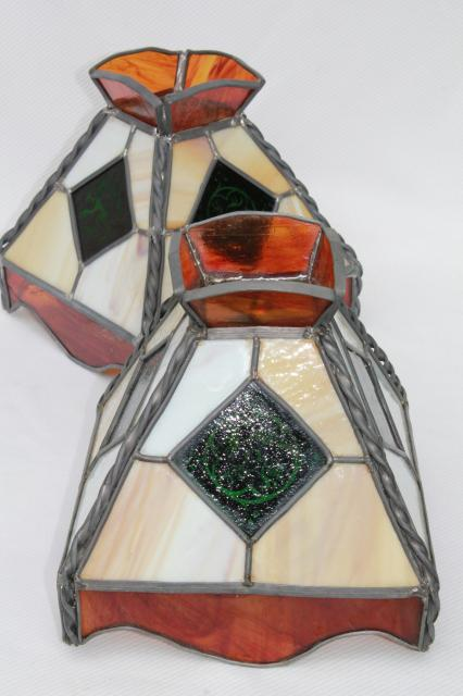 vintage pub tavern lampshades leaded stained glass shades for twin arm light or pendant lamps