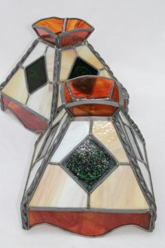 vintage pub tavern lampshades, leaded stained glass shades for twin arm light or pendant lamps