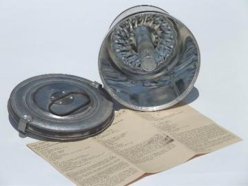 vintage pudding mold w/ recipes & instructions for boiled / steamed puddings