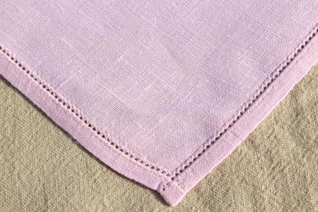 vintage pure Irish linen placemats & napkins set w/ hemstitching, pretty pale pink table linens