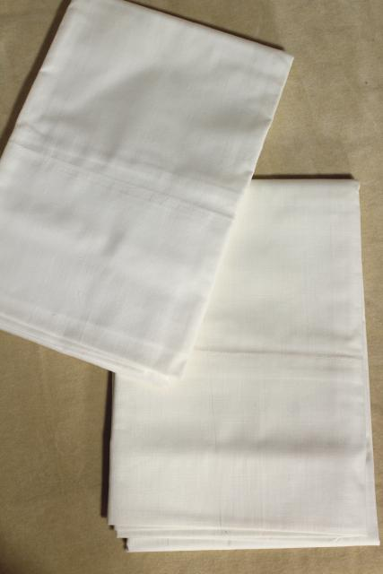 vintage pure cotton pillowcases, plain white bed linens bedding in original package