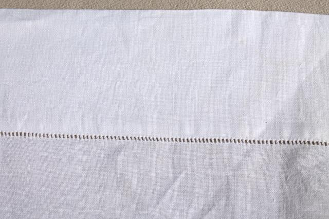 Vintage Pure Linen Bed Sheets, Pair Of Top Sheets White Linen W/  Hemstitching