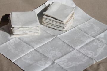 vintage pure linen damask napkins lot of 2 sets, total of 18 mismatched damask dinner napkins