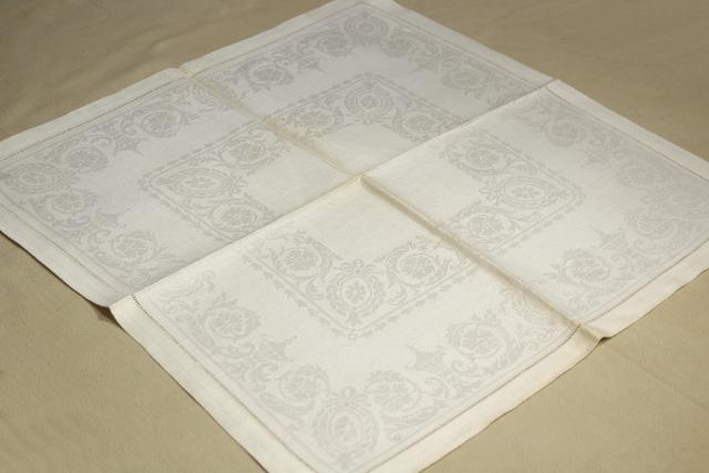 vintage pure linen dinner napkins, Irish double damask table linens w/ original label