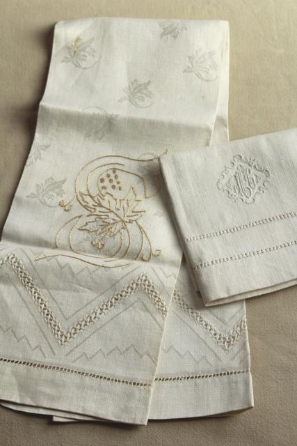 Vintage Pure Linen Hand Towels Sun Bleached Ivory Flax