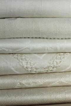 vintage pure linen hand towels, sun bleached ivory flax damask whitework towels