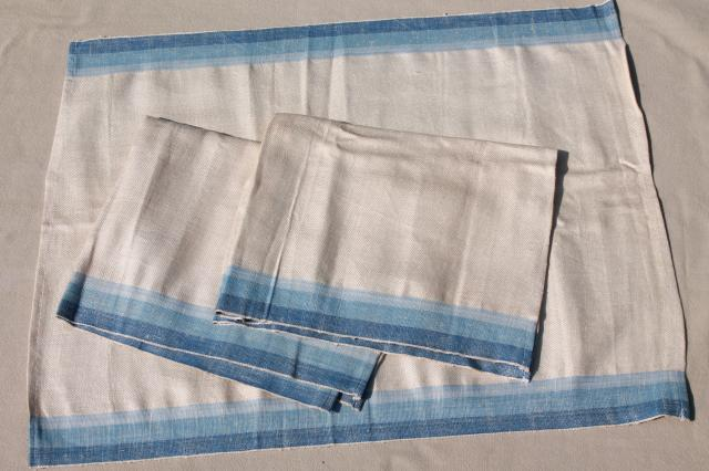 vintage pure linen kitchen towel fabric, unused table runners & dish towels lot