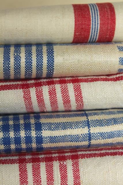 Vintage Pure Linen Kitchen Towels Red Blue Checked Rustic French